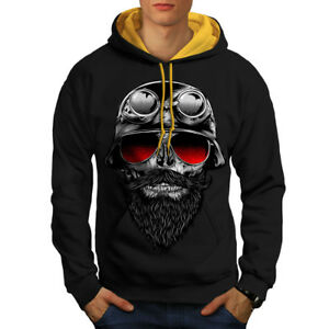 Black Beard New Skull Hoodie Hood gold Hipster Contrast Men BSCYq