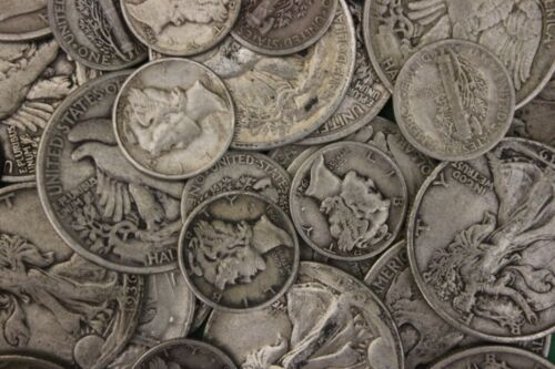 MAKE OFFER 2 Troy Ounces Silver Mercury Dimes Walking Liberty Half Dollars Junk