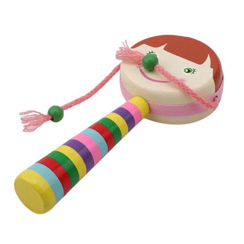 Baby Shaking Rattle Cartoon Wooden Hand Bell Drum Kids Musical Instrument LH