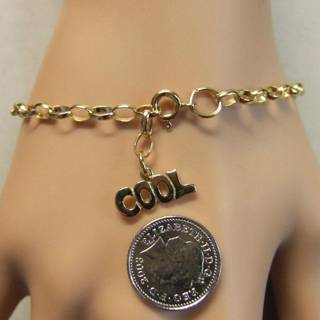 9 ct gold second hand belcher ankle bracelet & cool