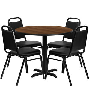 Round Walnut Laminate Top Restaurant Table Set With Black - 4 top restaurant table