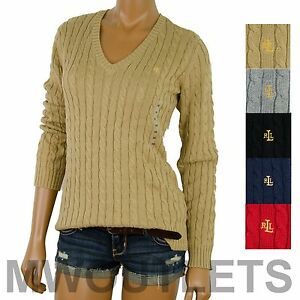 ae64b97517 Image is loading Polo-Ralph-Lauren-WOMENS-V-NECK-CABLE-KNIT-
