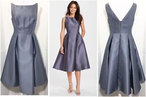 Adrianna Papell 6 Gunmetal Blue Mikado Pleated Dress Fit