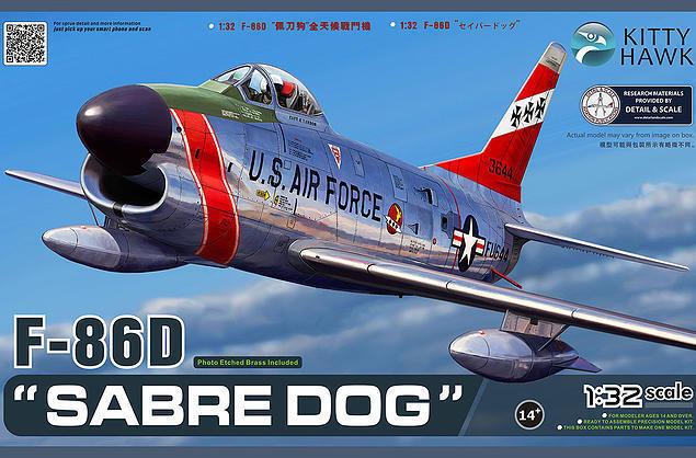Kitty Hawk Model 1 32 North-American F-86D 'Sabre Dog' Plastic Model K