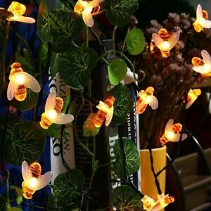 30 warm white led bee solar party fairy outdoor string lights for image is loading 30 warm white led bee solar party fairy aloadofball Images