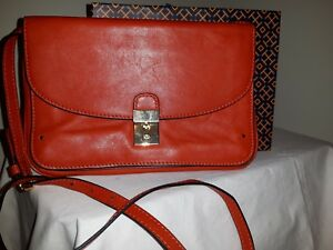 Image is loading Tory-Burch-Priscilla-Leather-Paprika-Crossbody-Purse -Clutch- 689664fc13cf9