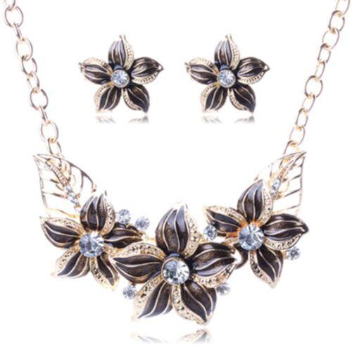 4 couleur zinc Collier Boucles d/'oreilles Bijoux Set Fleurs Cristal Femme Fashion