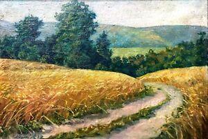 painting-art-socialist-realism-vintage-landscape-field-Wheat-socrealizm-harvest