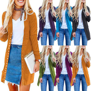 Women-039-s-Long-Sleeve-Button-Cardigan-Loose-Knitted-Sweater-Jacket-Coat-Outwear