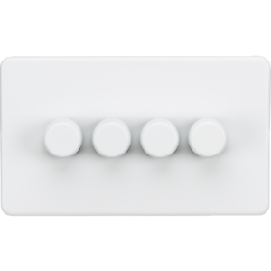 Screwless 4G 2-way 10-200W (5-150W LED) trailing edge dimmer - Matt White