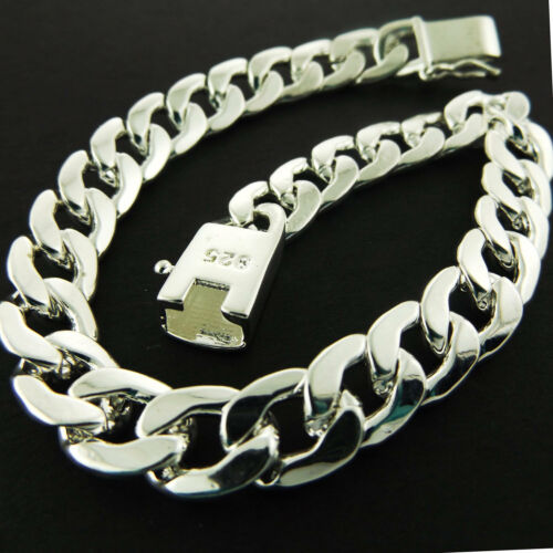 """Bracelet Bangle Real 925 Sterling Silver SF Solid Mens Heavy Curb Cuban Link 8/"""""""
