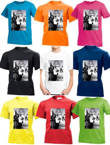 Star Wars Selfie Paris Eiffel Parody Darth Vader Kids Boys Girls Top T shirt 86