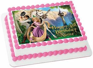 Image Is Loading EDIBLE Disney Tangled Rapunzel Cake Topper Birthday Wafer