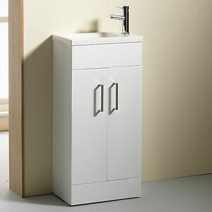 Vanity unit 400mm slim basin mixer tap waste mirror for Slim white bathroom cabinet