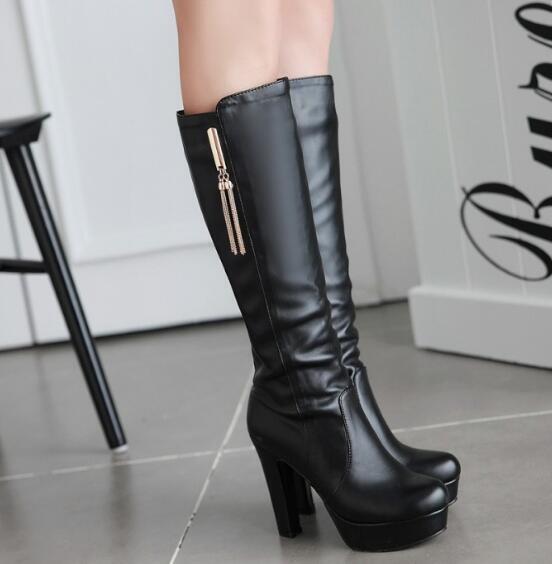 Stylish Womens Ladies High Heels Knee High Boots Metal Tassel zip Platform shoes