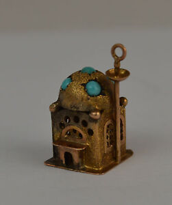 14k GOLD 3D VINTAGE MOSQUE CHARM WITH TURQUOISE PEARL.