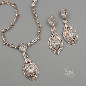 Rose Gold Plated Crystal CZ Necklace Pendant Earrings Wedding