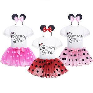 0bb8163aece6 Birthday Baby Girls Outfit Set Toddler Cartoon Top Tutu Skirt Party ...