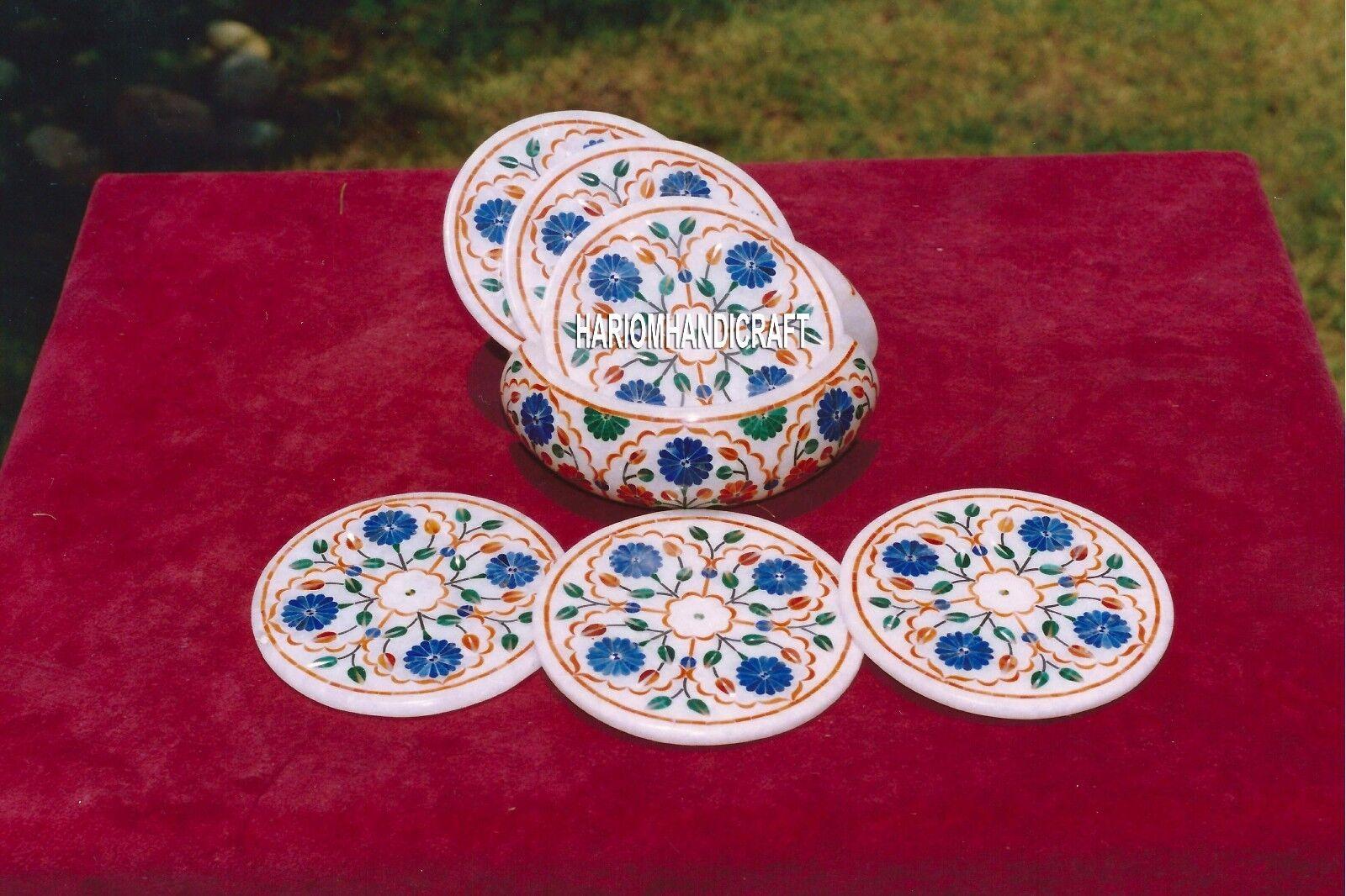 Exclusive Inlay Marble Coaster Set pietradure Inlay avec cuisine art decor H4064