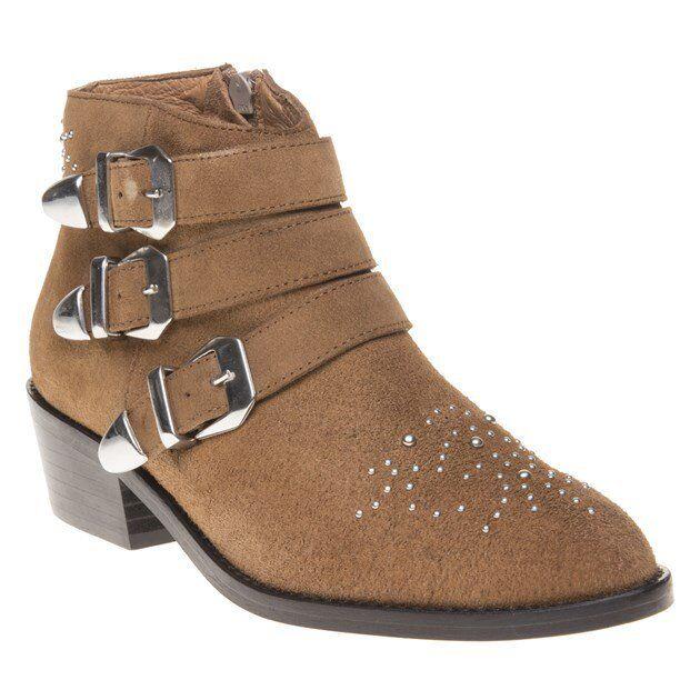 NEU Damenschuhe SOLE Tan Averil Suede Stiefel Ankle Zip