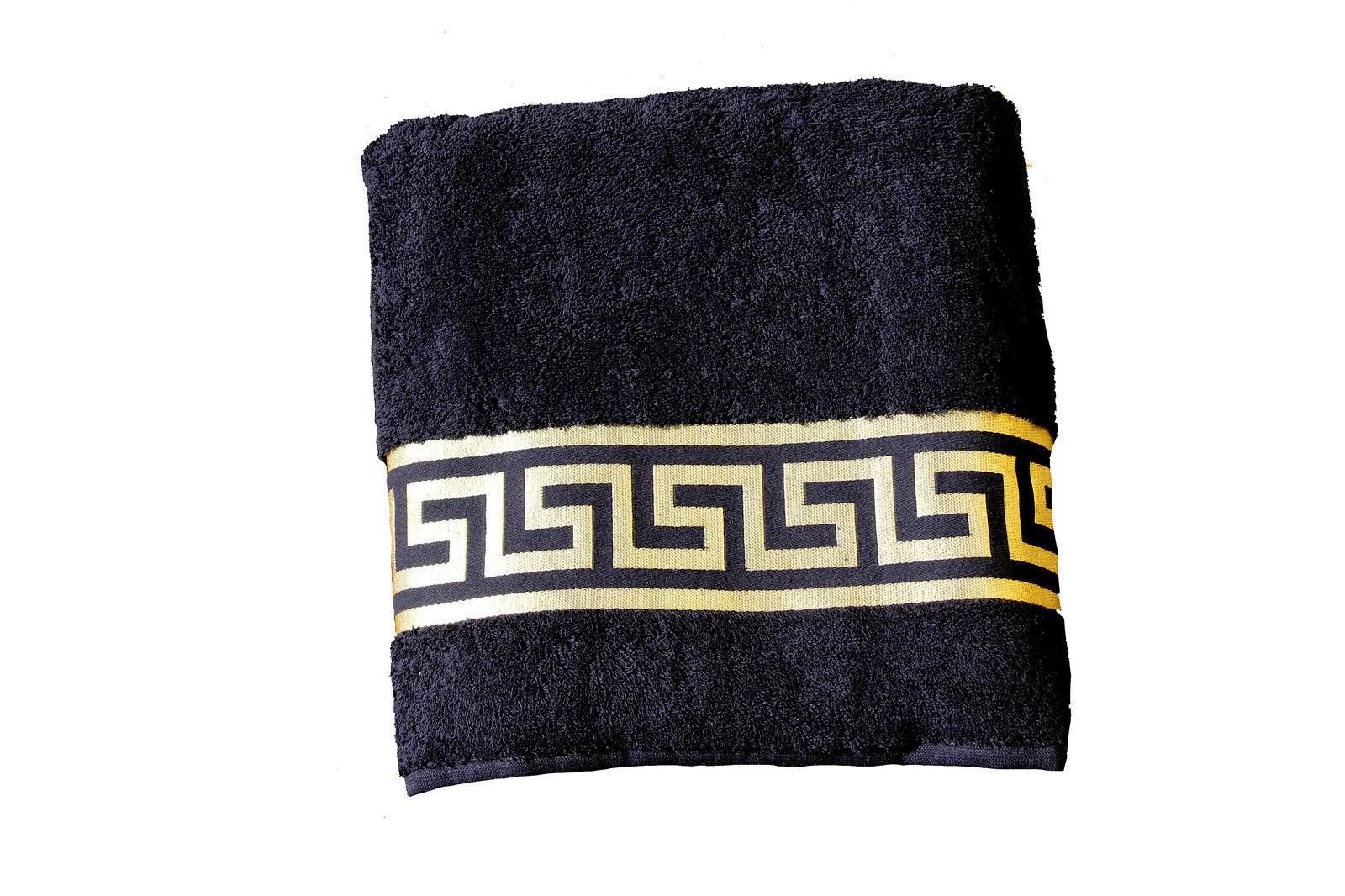 Mäander Handtücher 100/% Baumwolle Meander Medusa Schwarz-Gold towel versac
