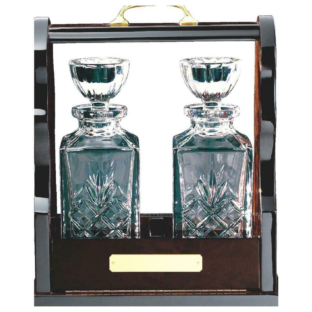 Tantalus with two Decanter Glasses Crystal  award,gift,FREE Engraving (KL423)TWT
