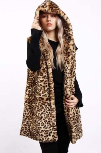 Waistcoat Warm Leopard Ladies Sleeveless Brown Fur Faux Hooded Gilet New Womens 8xRwq