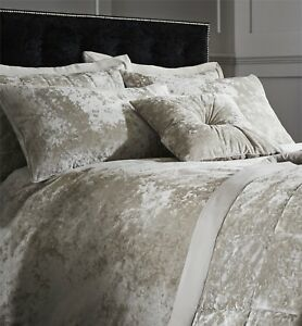 Catherine-Lansfield-Luxury-Crushed-Velvet-Natural-Duvet-Cover-Set-or-Accessories