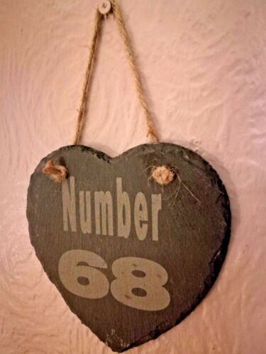 House Number Personalised Slate Hanging Heart Plaque