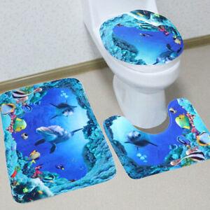 3PCS Flamingo Toilet Seat Cover Set Absorbent Non-Slip Bathroom Rug Bath Mat
