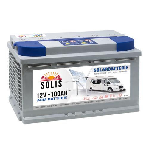 AGM Wohnmobilbatterie 100Ah Solar Versorgungs Boots Wohnmobil Batterie 12V