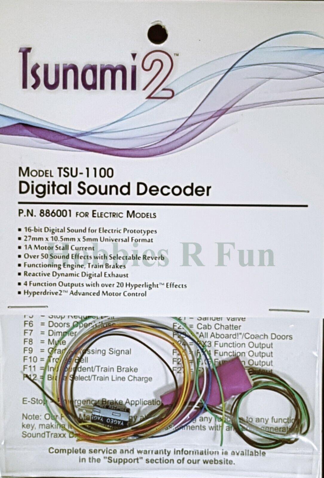 Soundtraxx Tsunami TSU-1100 2 Decodificador de sonido eléctrico loco, versión 1amp Universal