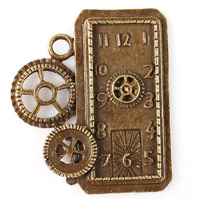 6pcs Antiqued Style Bronze Tone Big Gear Clock Charms Alloy DIY Pendants 38x32mm