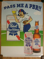 Beer Poster Pabst Blue Ribbon Cool Blue Football Player Art - Pass Me A PBR