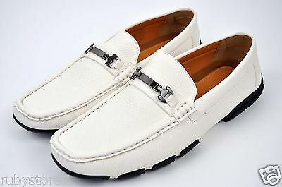 Men's White Casual Shoes Driving Moccasins Loafers Slip On Sizes Medium(D,M)5177