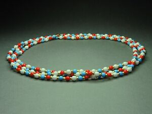 Vintage-Czech-Bohemian-Multi-Colored-Round-Glass-Beads-Necklace-Long