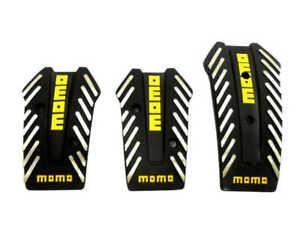 Momo Style Black Aluminum Non Slip Gas Brake Pedal Pad Clutch Manual Car 3 PCS