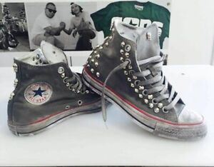 madera Adentro Cuidar  Converse all Star White with Effect Wintage & Studs | eBay