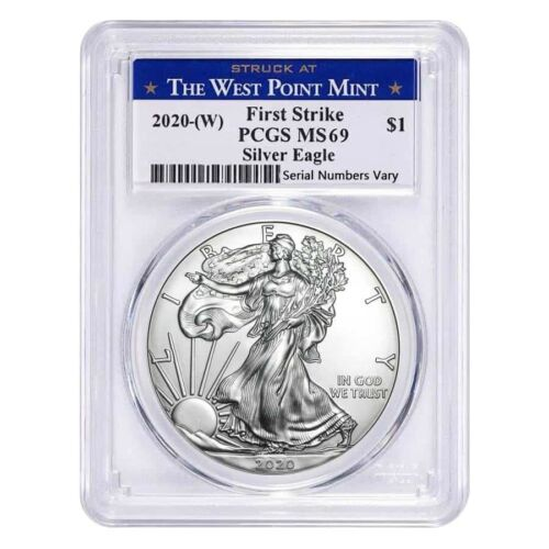 2020 1 oz Silver American Eagle $1 Coin PCGS MS 69 First Strike West Point W