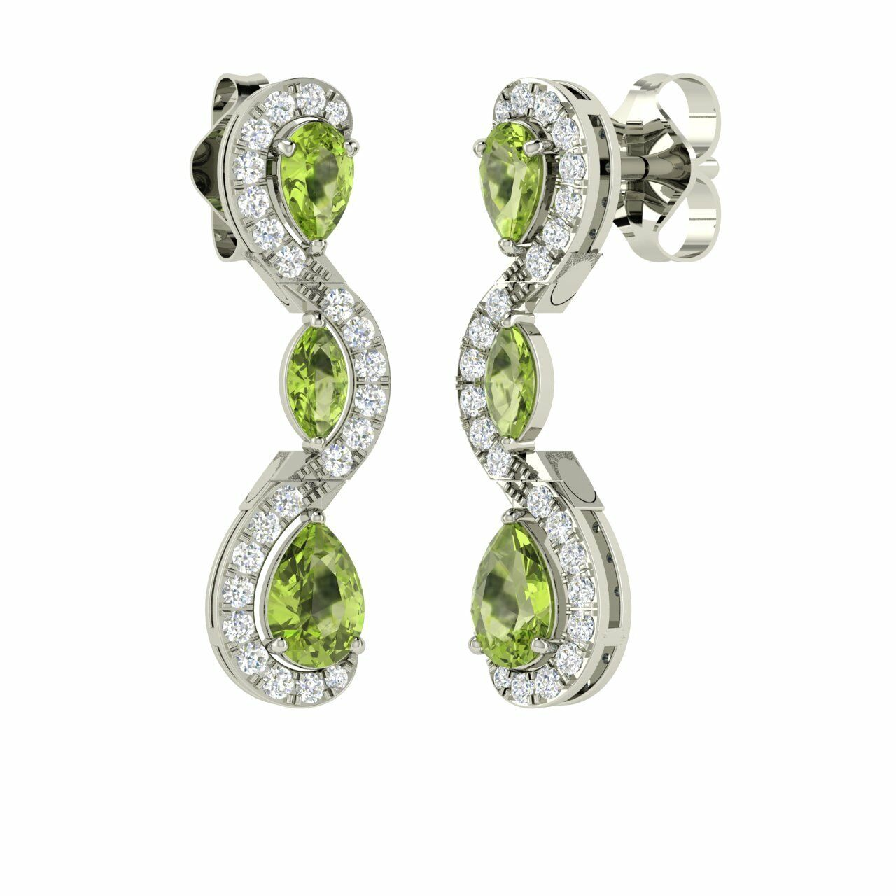 Certified 2.06 Cts Real G SI Diamond & Peridot 14k White gold Dangle Earrings