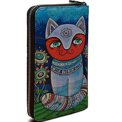 High Quality Blue Genuine Leather Nomad Influences Cat Print Clutch Wallet Purse
