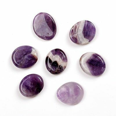 Amethyst Agate Quartz Gemstone Set Palm Pocket Crystal Healing Stone 7Pcs/set