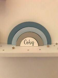 Personalised Wooden Stacking Rainbow Children's Nursery Bedroom Decor Shelfie