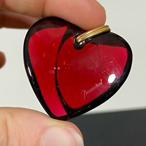 Signed-BACCARAT-France-Red-Crystal-Art-Glass-Heart-Necklace-Charm-Pendant