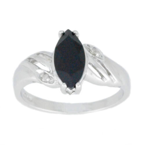 1 Ct Black Onyx /& Diamond Marquise Ring .925 Sterling Silver