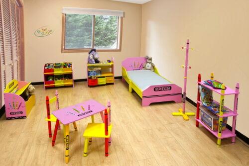 Kiddi Style Childrens Crayon Wooden Shelves Storage Unit,3 Bin-Kids Toddlers
