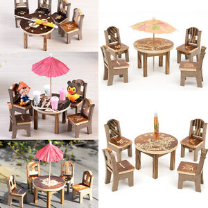 Diy dollhouse miniature furniture wooden mini dining room table 4 chairs toys ebay - Dollhouse dining room furniture ...