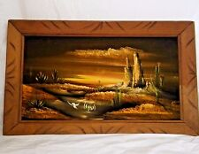 """Vtg Black Velvet Painting Desert Landscape Sunset Sunrise Cactus 14""""x23"""" Framed"""