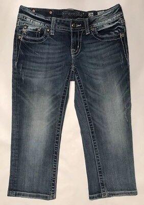Intellective Miss Me Women's Cropped Jeans Size 26 Denim Blue Embellished Distressed Je6048c6 Jeans