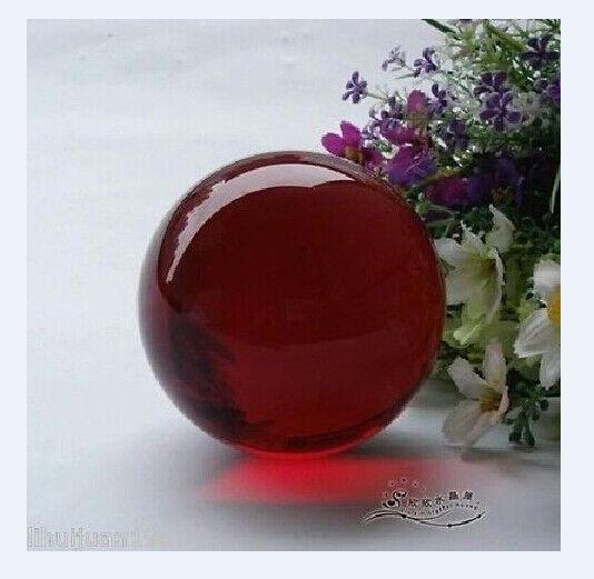 Asian Rare Natural Quartz Red Magic Crystal Healing Ball Sphere 40mm + stand